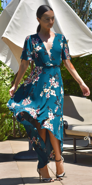Teal Wrap Floral Maxi Dress