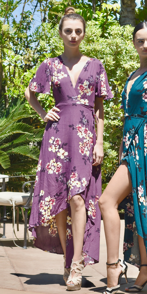 Purple Wrap Floral Maxi Dress