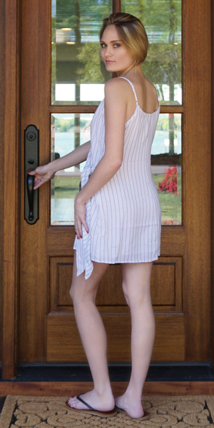 White Striped Wrap Cami Mini Dress