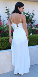 White Wrap Romper Maxi Dress
