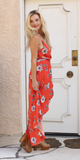 Red Aloha Floral Wrap Maxi-Dress