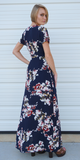 Navy Double Slit Tie Front Floral Maxi Dress