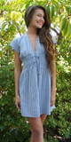 Striped Lace Up Chambray Dress
