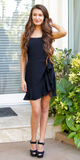 Black Wrap Ruffled Mini Dress