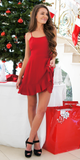 Red Wrap Ruffled Mini Dress