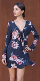 Grey Tie Front Floral Dress