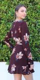 Deep Red Tie Front Floral Dress
