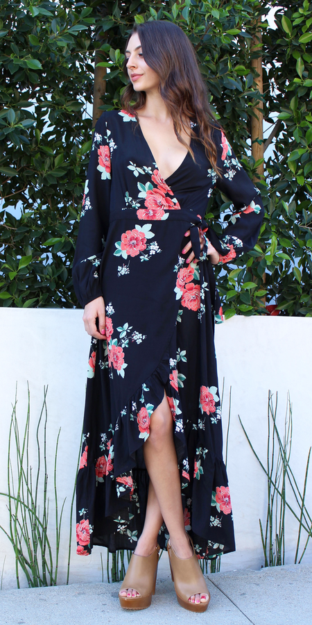Ruffle Floral Wrap Dress