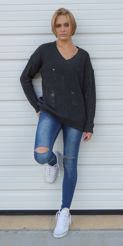 Distressed Over-Sized-Boyfriend Sweater