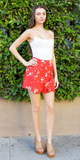 Red Floral Flippy Mini Skirt
