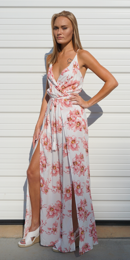 Floral Silk Velvet Flutter Maxi Dress