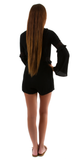 Black Bell Sleeve Romper with Lace Insert