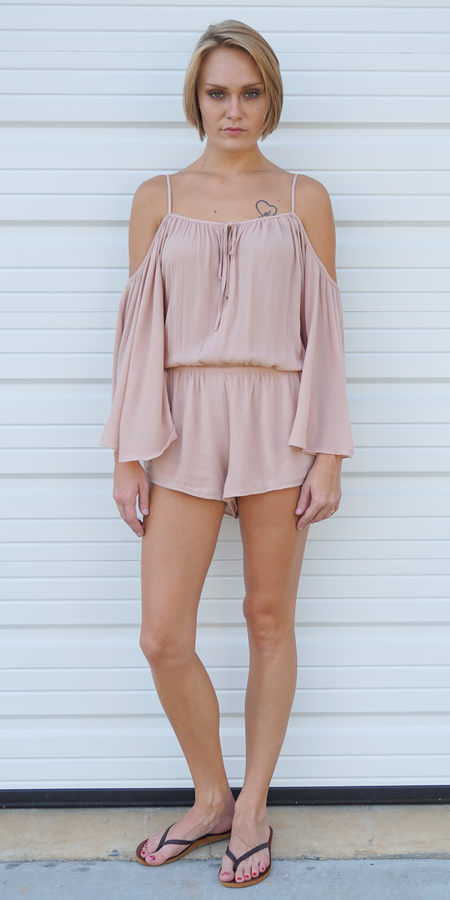 Ribbed Criss Cross Romper with Choker Neck
