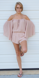 Pink Cold Shoulder Romper
