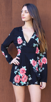 Black Long Sleeve Wrap Floral Romper