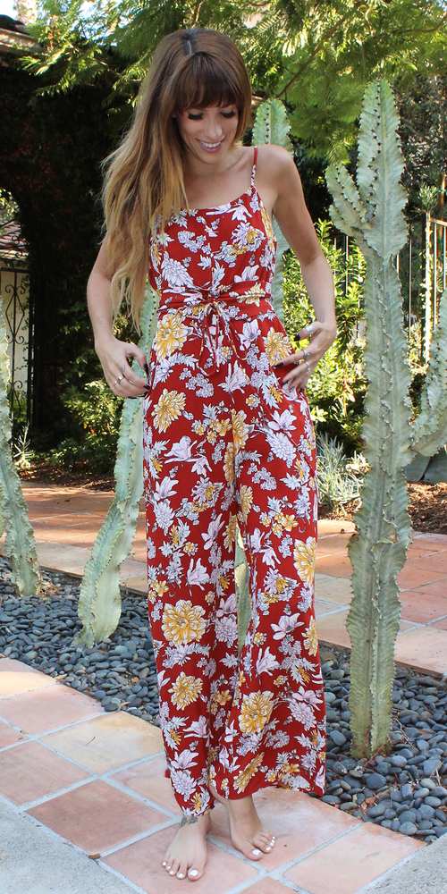 Sleeveless Red Floral Jumpsuit