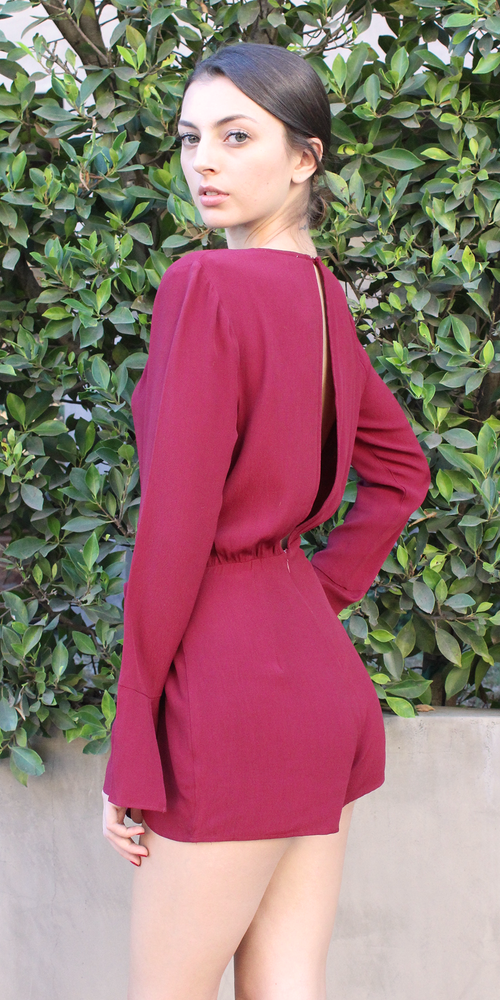Burgundy Red Wrap Front Romper Shorts
