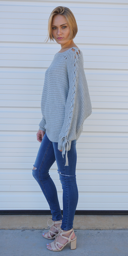 Grey Oversized Tie Sleeve Sweater