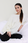 Ivory Oversized Tie Sleeve Sweater