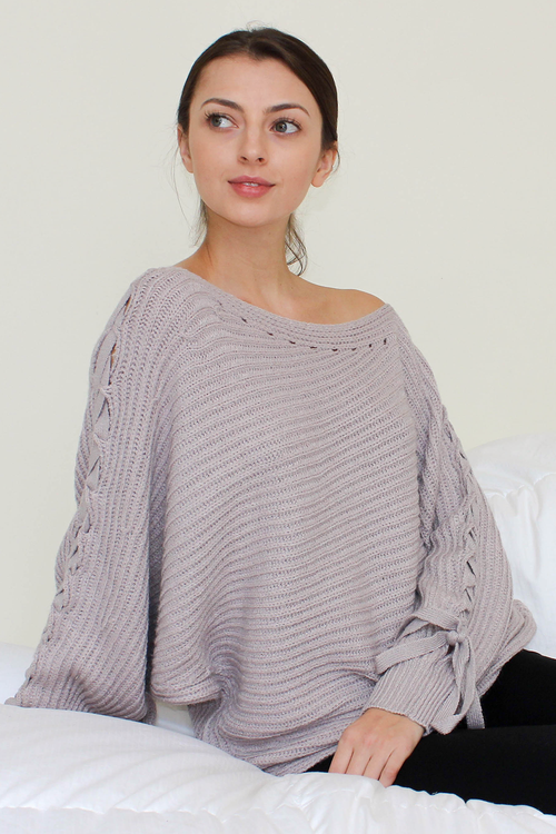 Lilac Purple Oversized Tie Sleeve Sweater