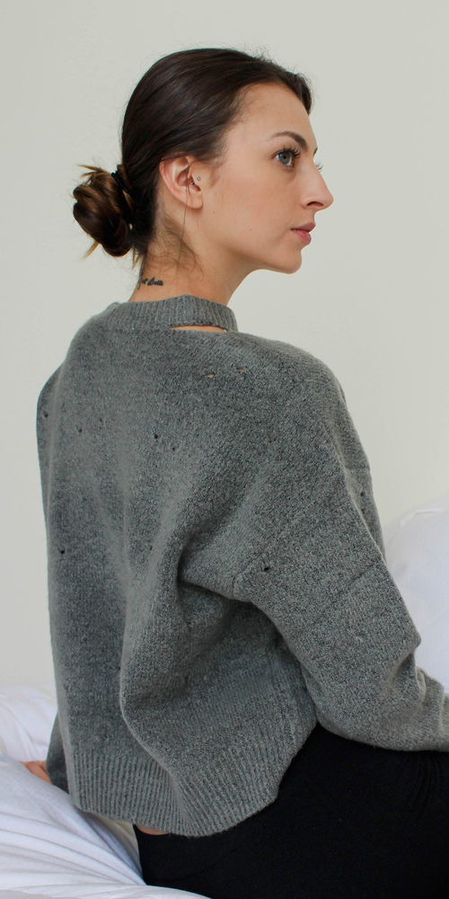Distressed Grey Knit Sweater
