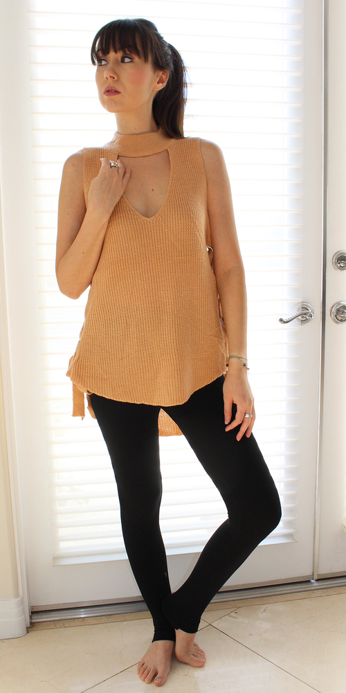 Tan Choker Neck Lace Up Sleeveless Knit Sweater