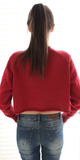 Red Distressed Crop Sweater