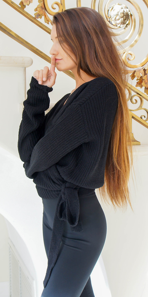 Black Tie Knit Sweater