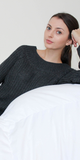 Dark Grey Wide Neck Knit Sweater