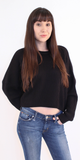 Black Ribbed Cropped Sweater