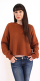 Bronze Orange Ribbed Cropped Sweater