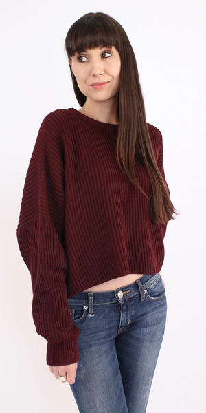 Plum Red Ribbed Cropped Sweater