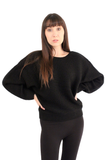 Black Dolman Drop Shoulder Knit Sweater