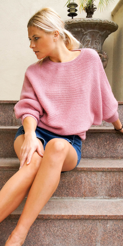 Pink Dolman Drop Shoulder Knit Sweater
