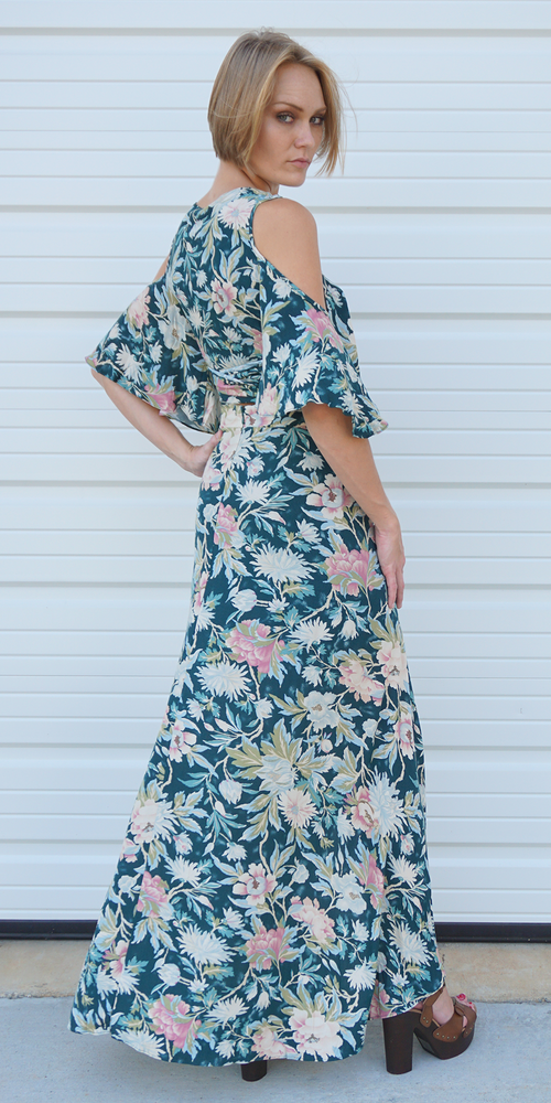 Green Floral Cold Shoulder Top & Maxi Skirt Dress Set