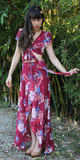 Maroon Red Floral Crop Top & Maxi Skirt Dress Set