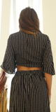 Black Striped Kimono Tie Front & Slit Pant Set