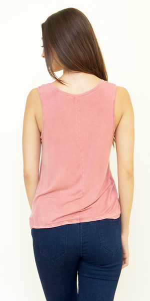Coral Pink Loose Fit Scoop Neck Tank