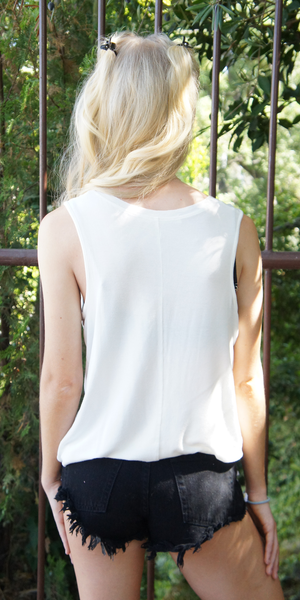 White Loose Fit Scoop Neck Tank