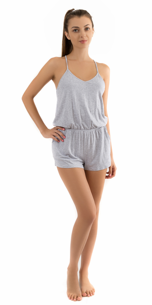 Heather Grey Spaghetti Strap Jersey Knit Romper