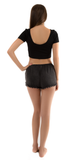 Black Ribbed Scoop Back Crop Top