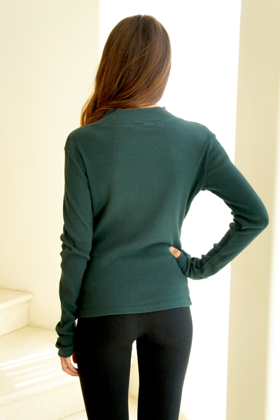Forrest Green Mock Neck Soft Ribbed Knit Top