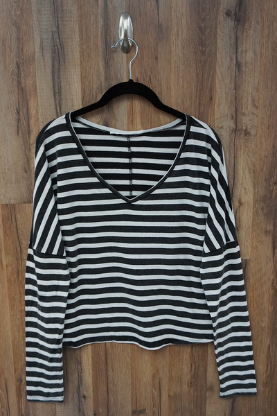 Black White Oversized Drop Shoulder Striped T Shirt