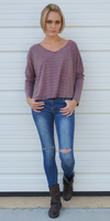 Red Grey Oversized Drop Shoulder Striped T Shirt
