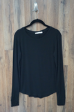 Black Essential Long Sleeve Knit Top