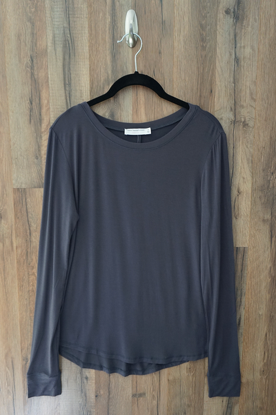 Dark Grey The Essential Long Sleeve Knit Top