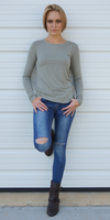 Light Green Essential Long Sleeve Knit Top