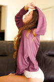 Purple Long Sleeve Cropped Hoodie