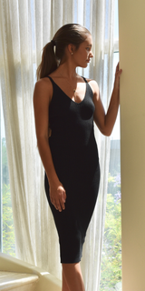 Black Fitted Spaghetti Strap Ribbed Dress