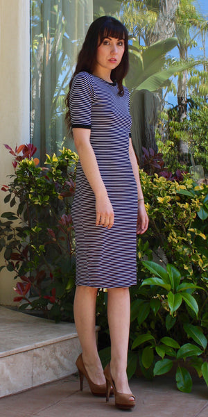 Short Sleeve Jersey Knit Striped Shift Dress